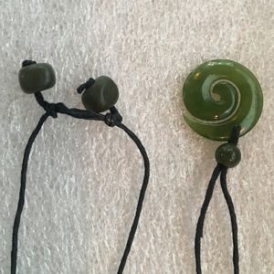 Jade Spiral and beads on waxed linen pendant